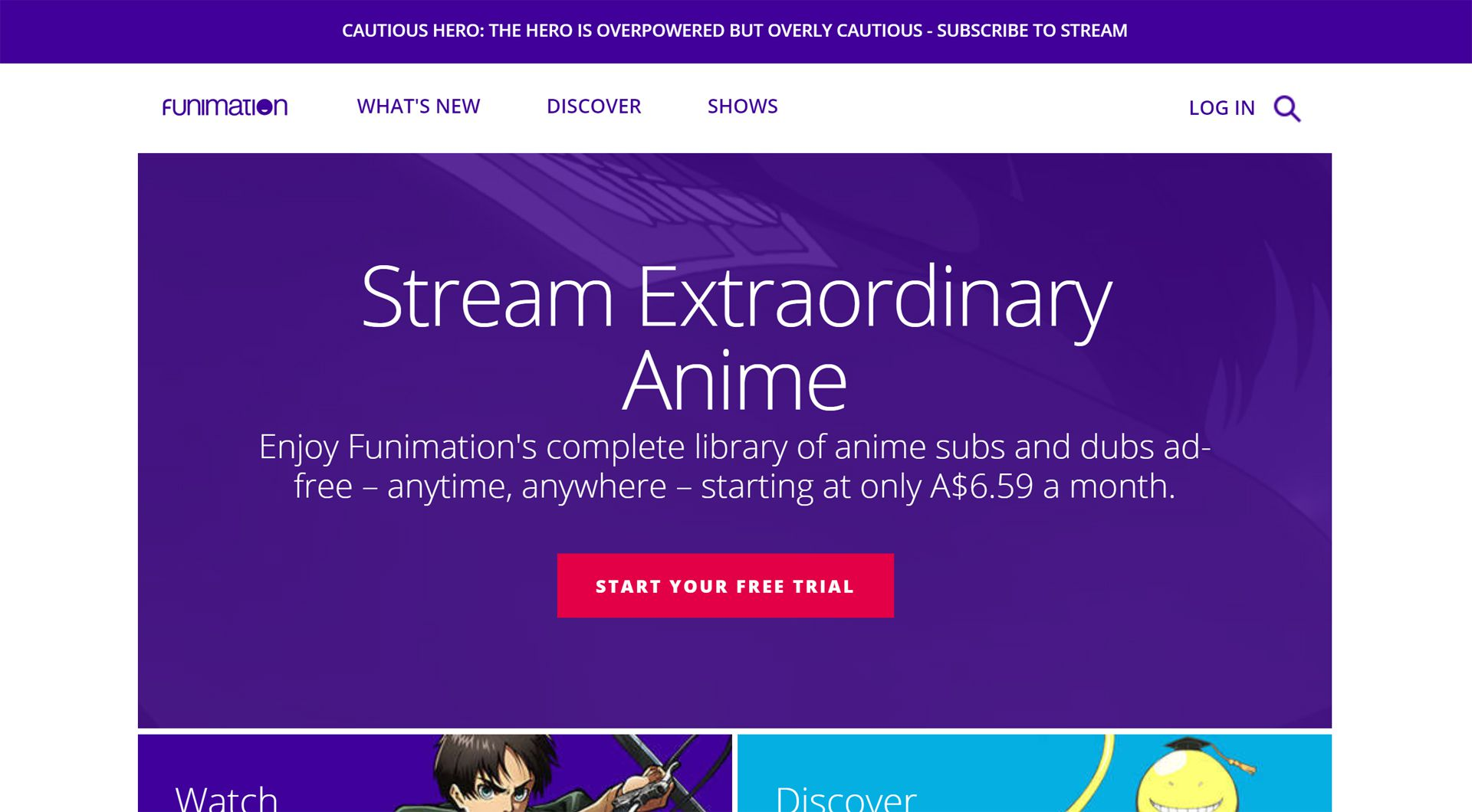Funimation Now anime streaming service on the Funimation website.