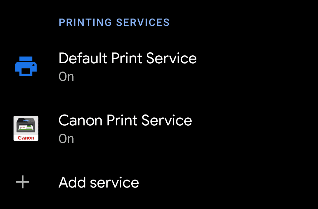 Default Print Service and Canon Print Service On