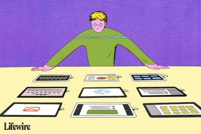 Person deciding between several iPad models