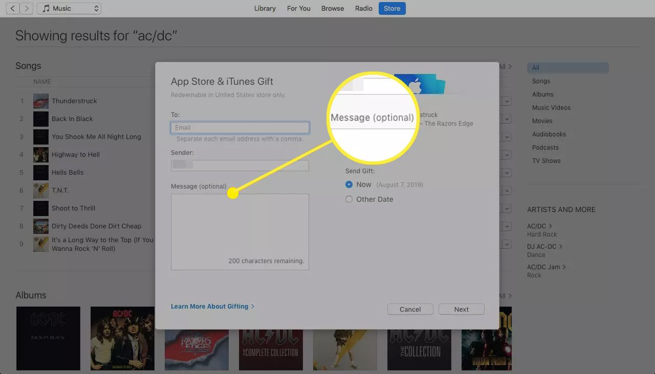 App Store Gift screen with the Message field highlighted