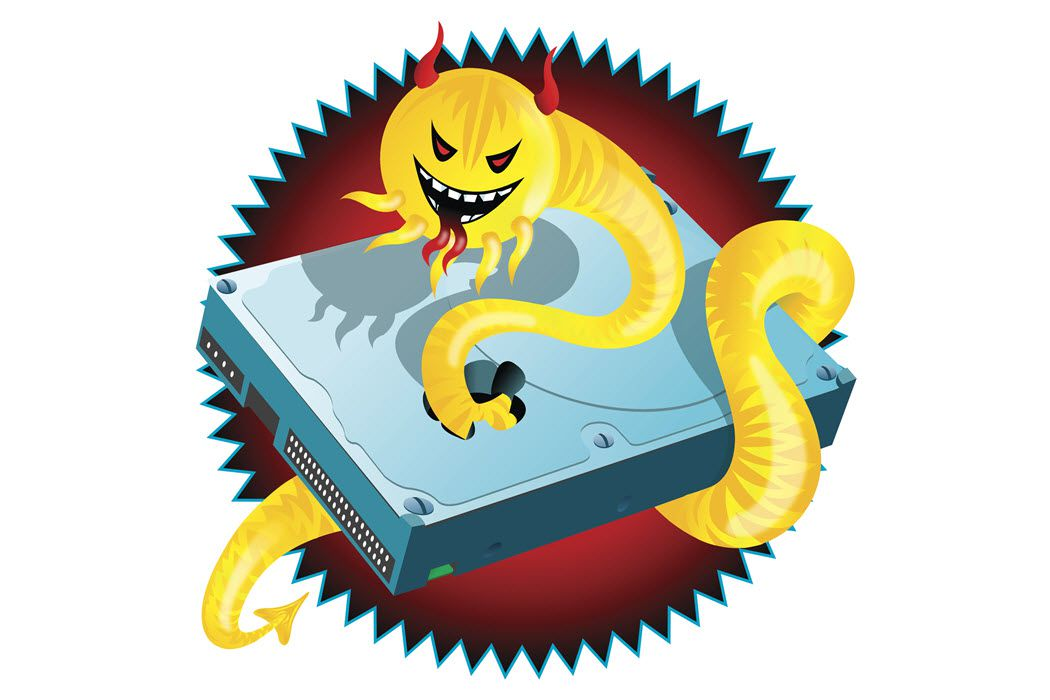 An illustration of a destructive computer worm, which is a syntactic cyber attack.
