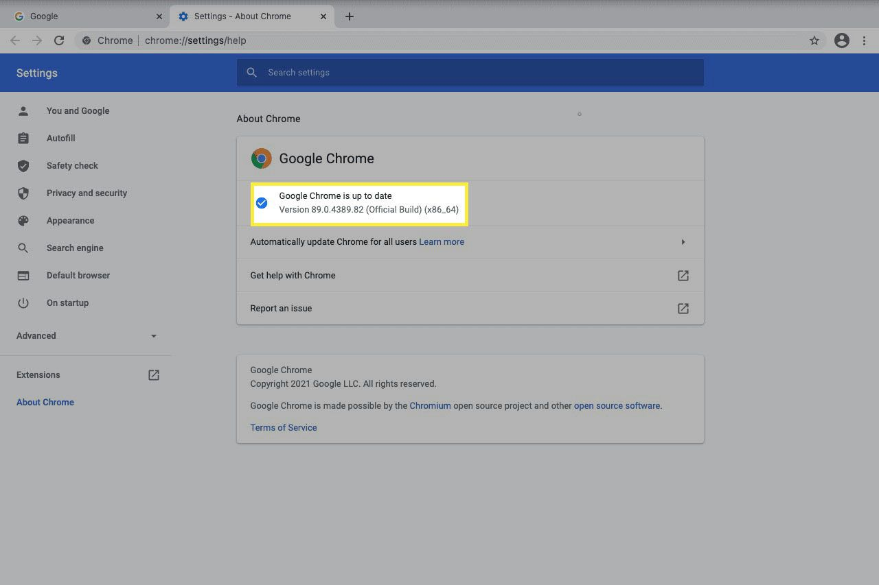Google Chrome is up to date message in the about chrome area of the browser