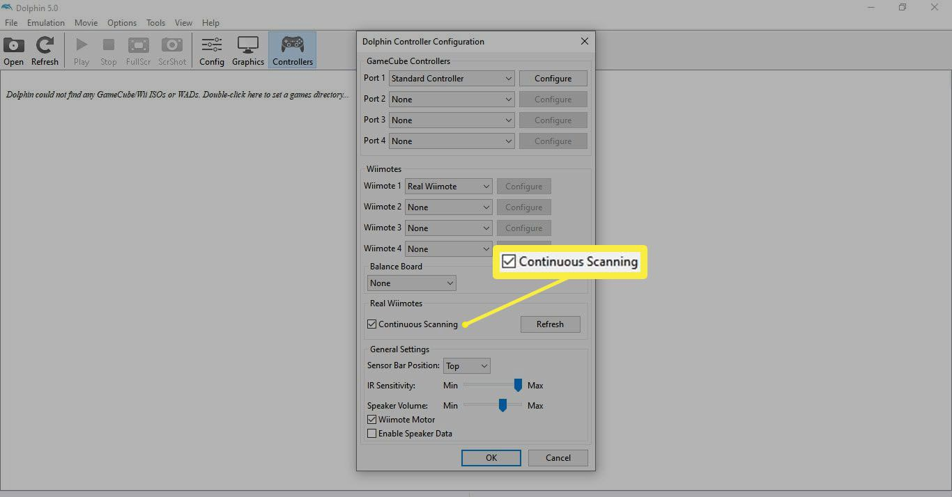 The Continuous Settings checkbox in the Dolphin emulator controller settings.