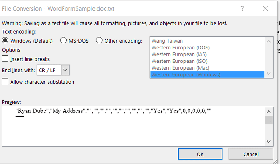 How to Export Data from a Word Form to Excel