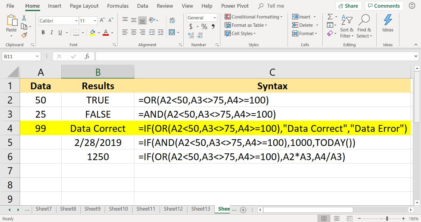 Screenshot of Microsoft Excel showing the OR function nested inside the IF function