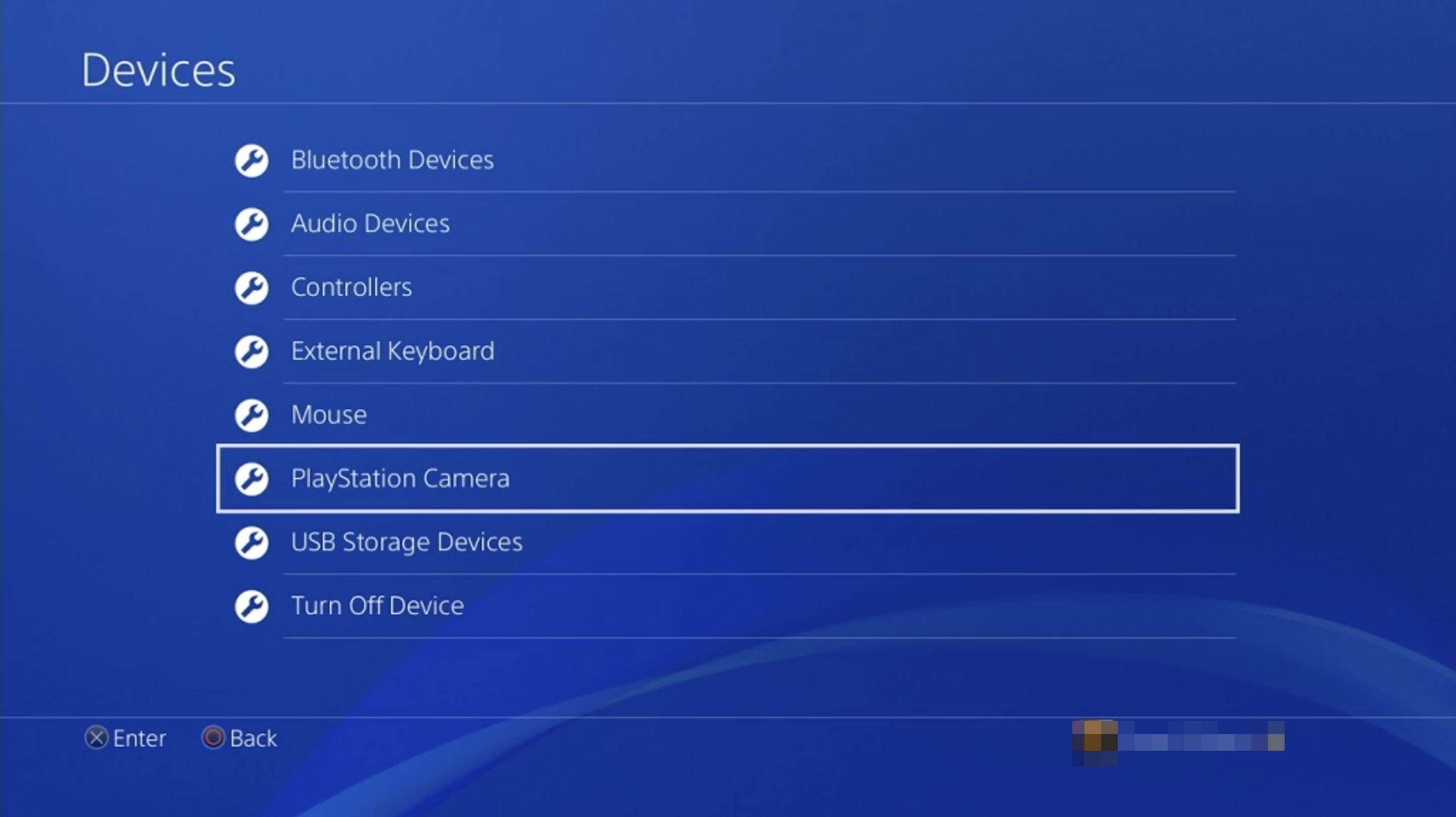 PlayStation Camera settings on a PS4