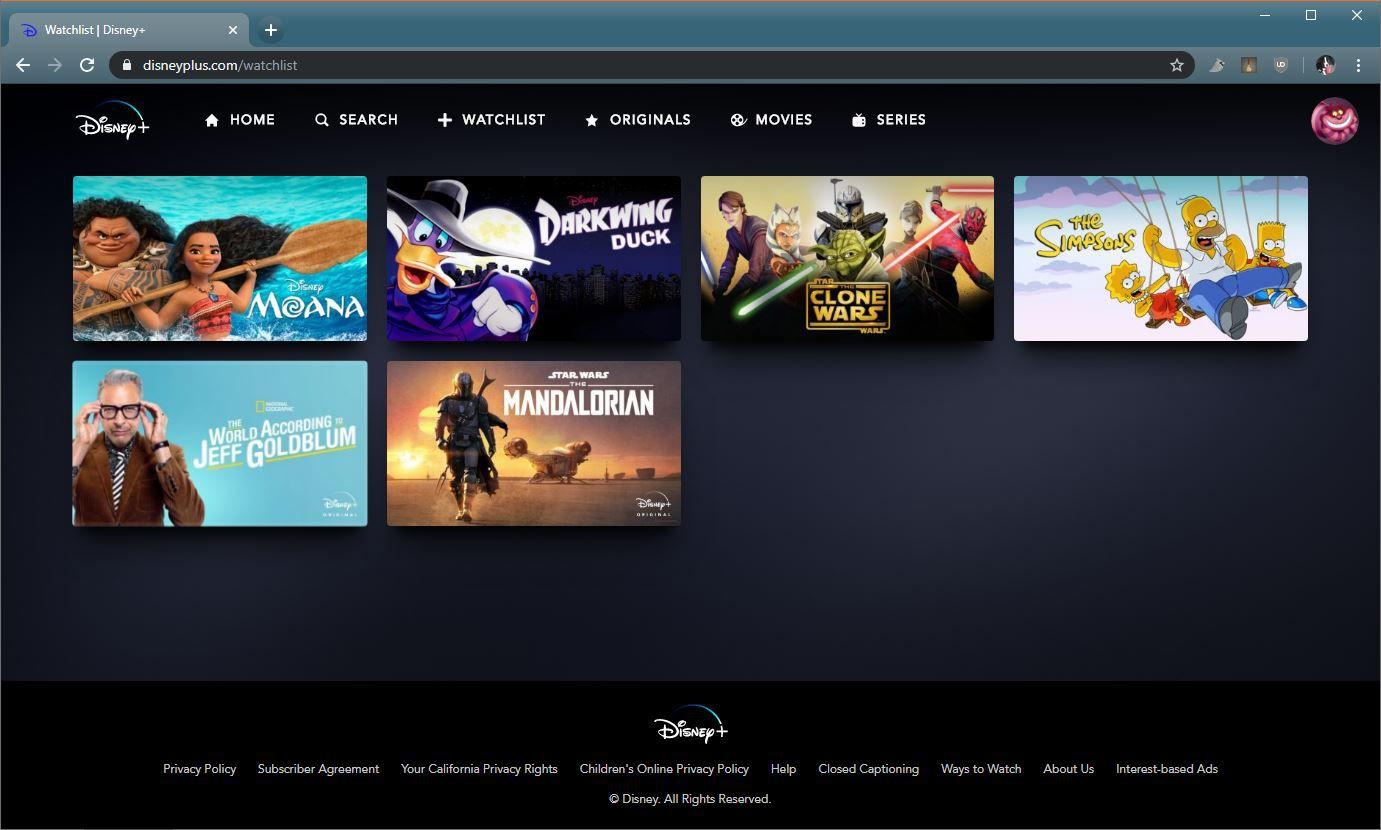 A screenshot of the Disney+ Watchlist.