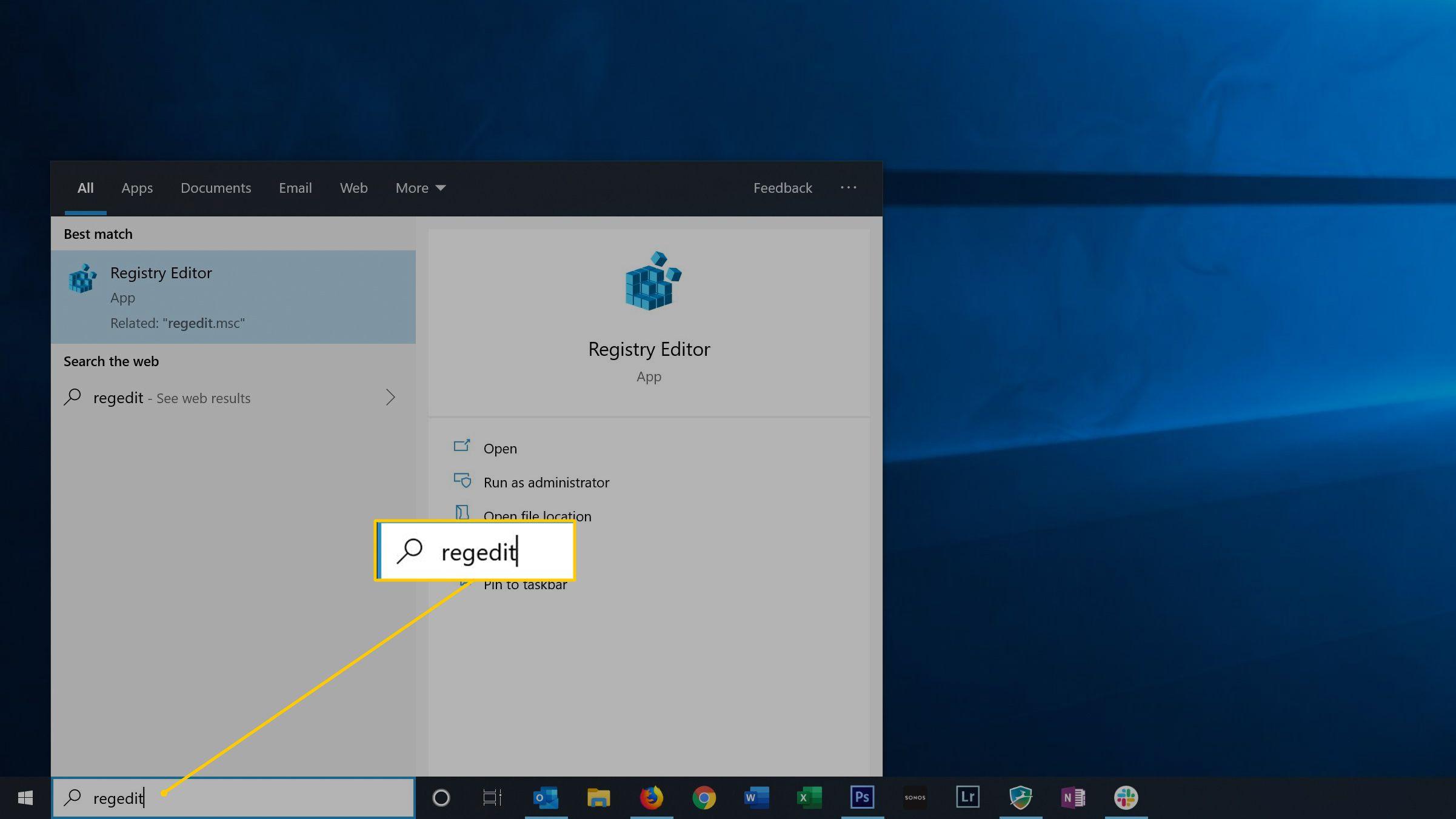 regedit in Start menu on Windows