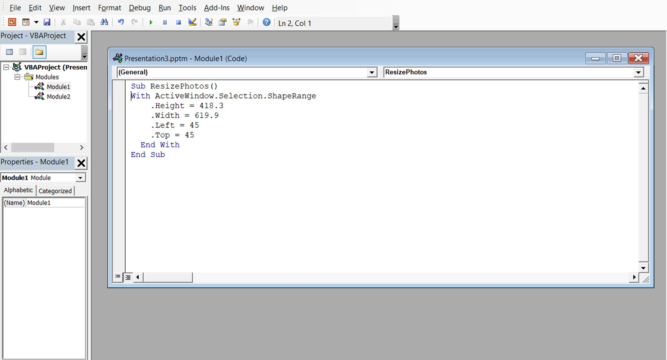 A screenshot showing example VBA code to resize an image in PowerPoint