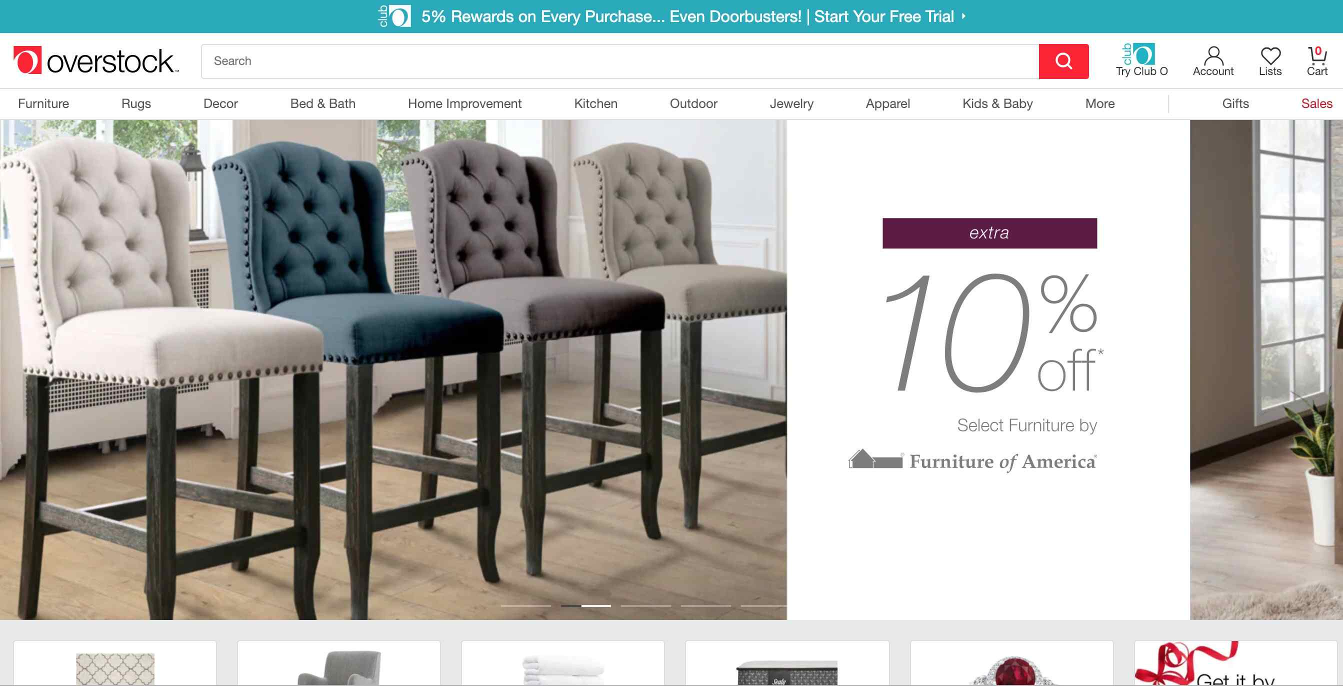 Overstock homepage