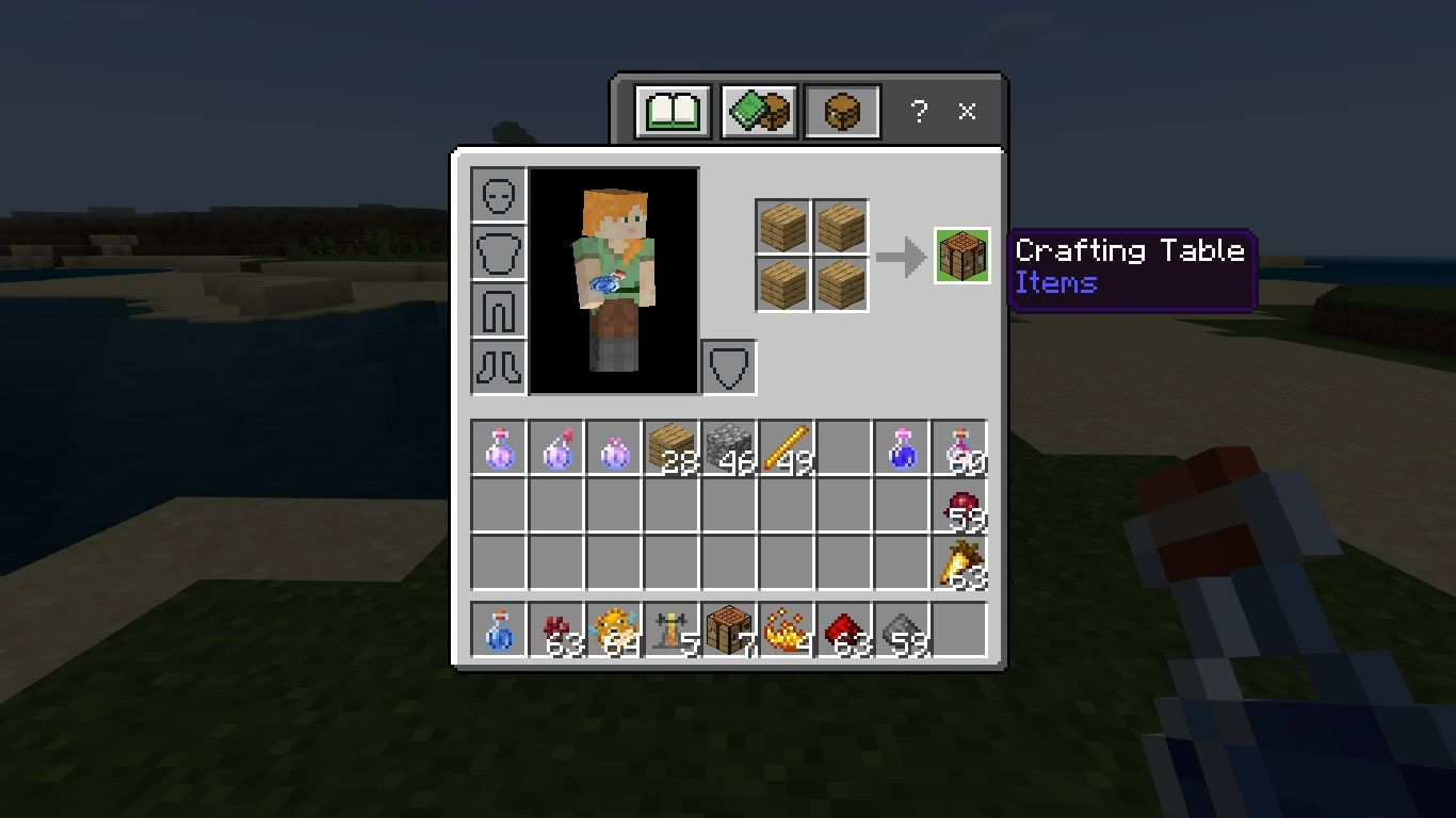 Make a Crafting Table with four planks of wood.