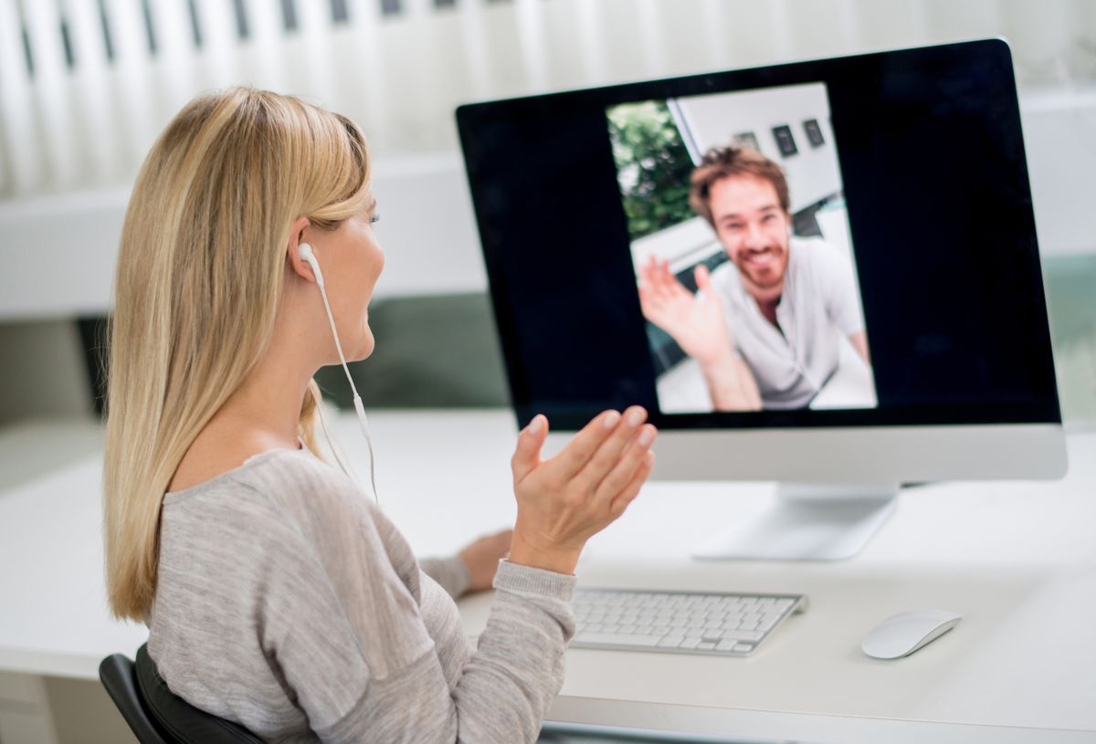 Woman and boyfriend using Skype