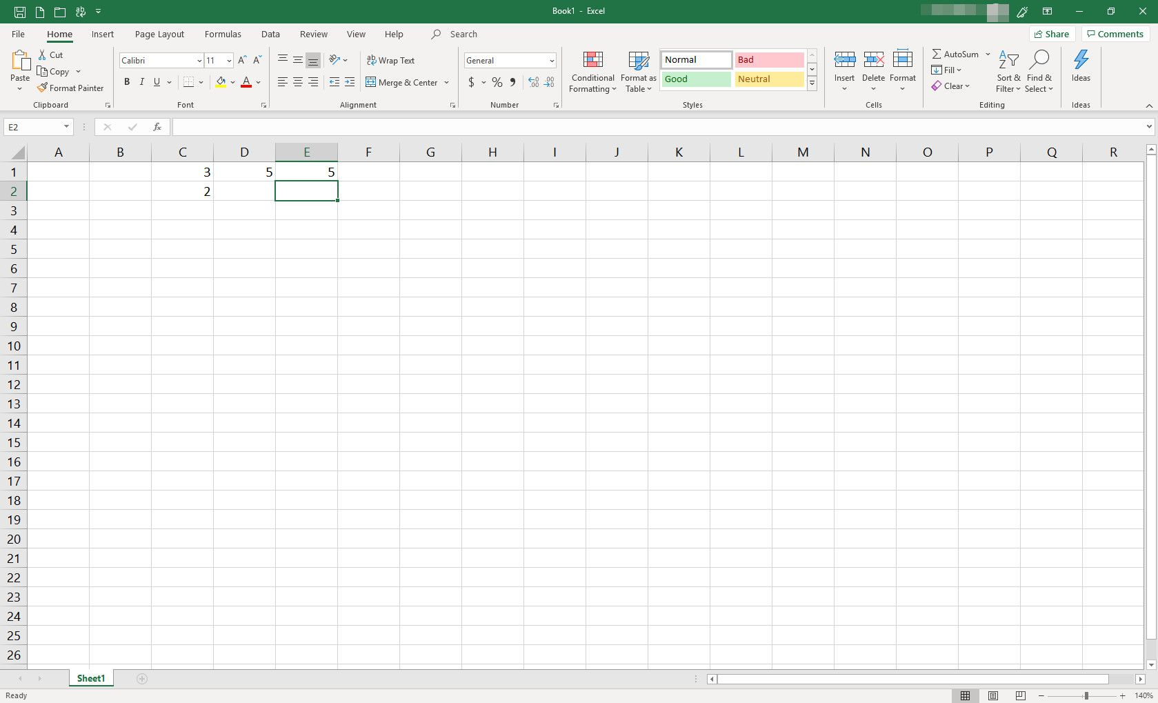 MS Excel spreadsheet with several cells populated