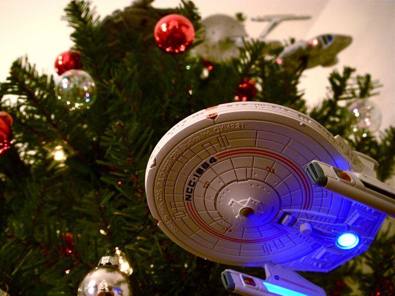 Star Trek ornaments on the tree
