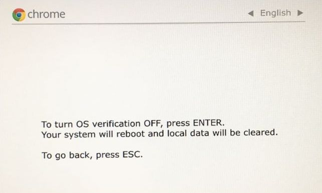 Press Enter to turn OS verification off and enable developer mode.
