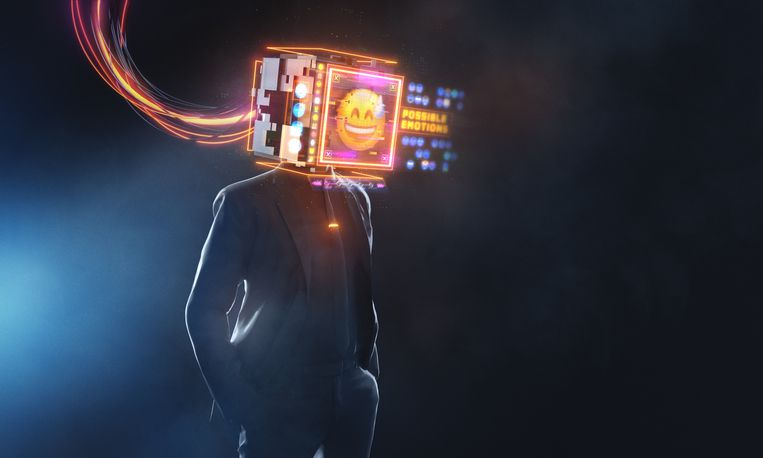 Businessman with smily emoji projection. 3D render futuristic concept