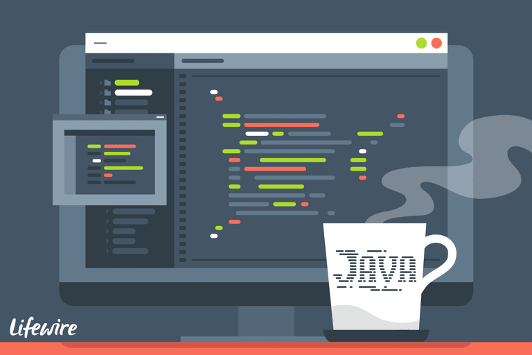 An illustration of Java and a computer.