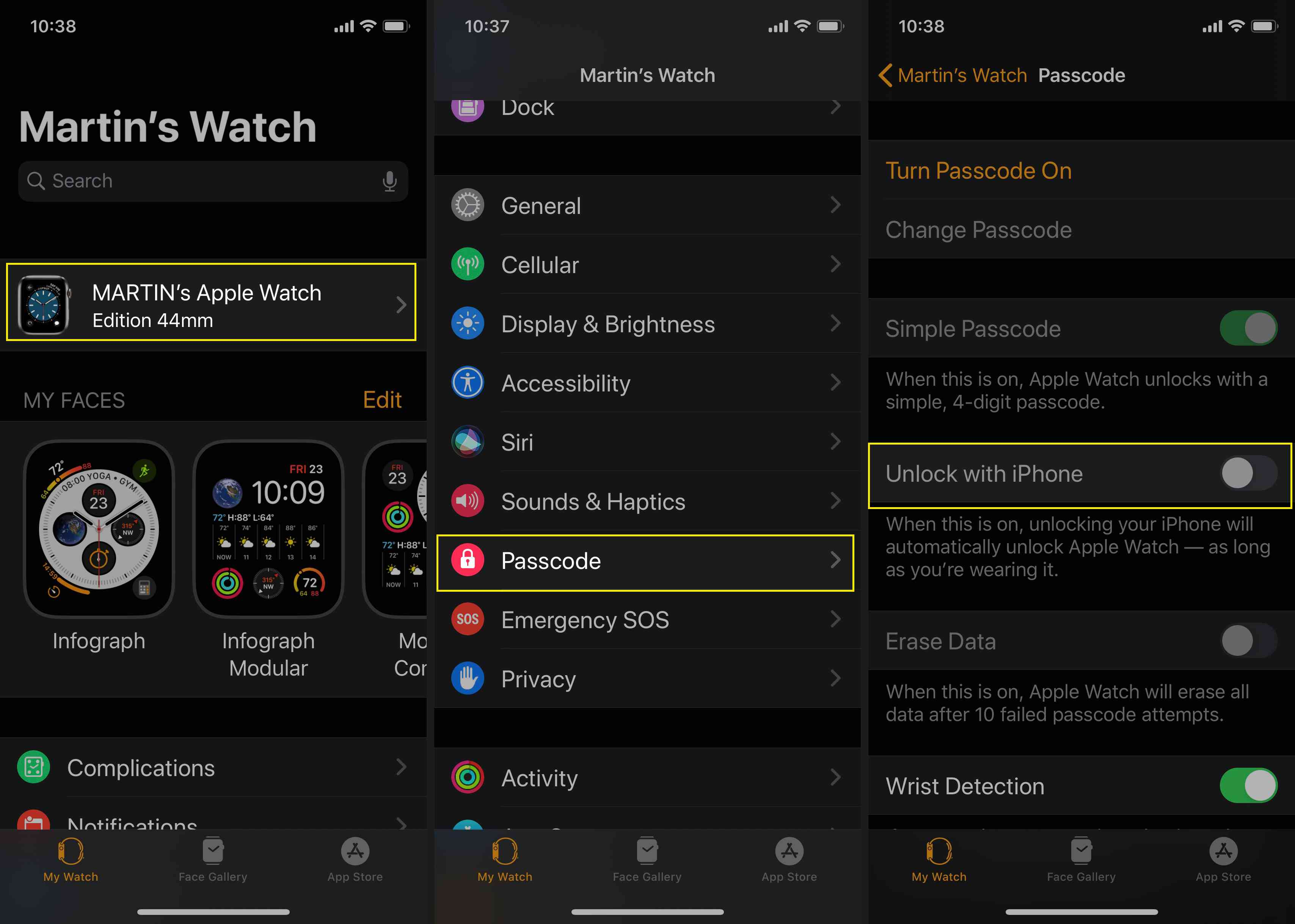 Use Watch app to set your Apple Watch to Unlock with iPhone