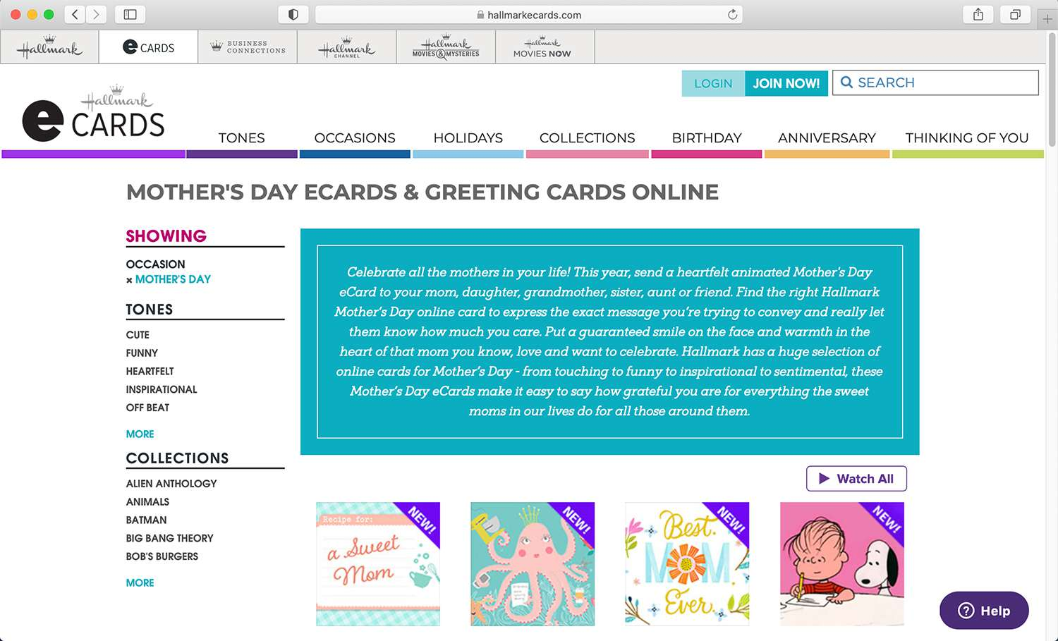 Hallmark e-card site for various holidays and occasions