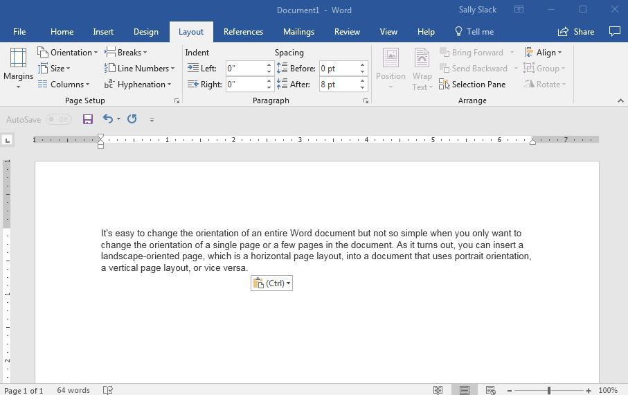 Change the orientation of a single page in word freerunsca Images