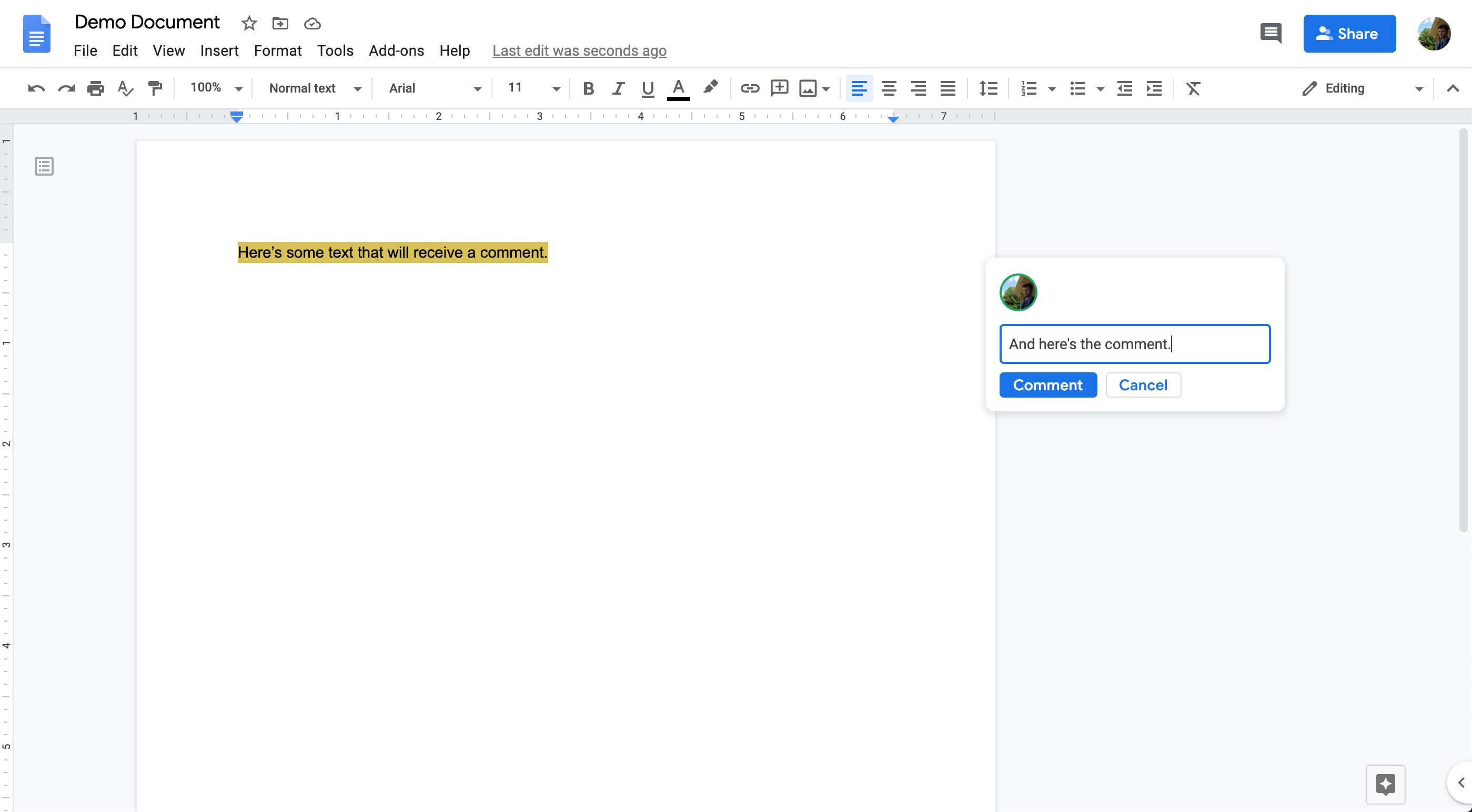 The comment window in Google Docs