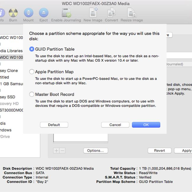 Apple Partition Types on the Hard Drive