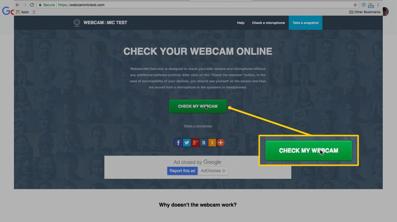 Check My Webcam button