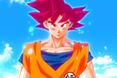 Super Saiyan God Son Goku anime charactor.