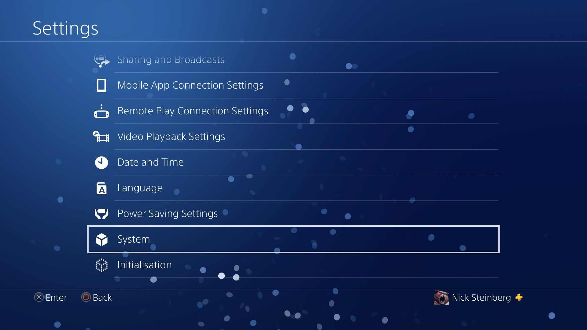 Selecting System settings on PS4.
