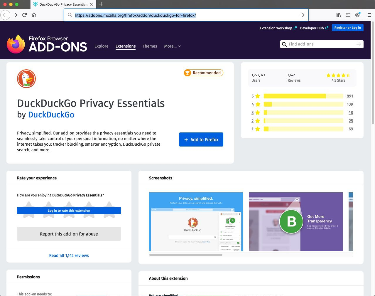 Find DuckDuckGo Privacy Essentials on the Mozilla Firefox Add-On page.