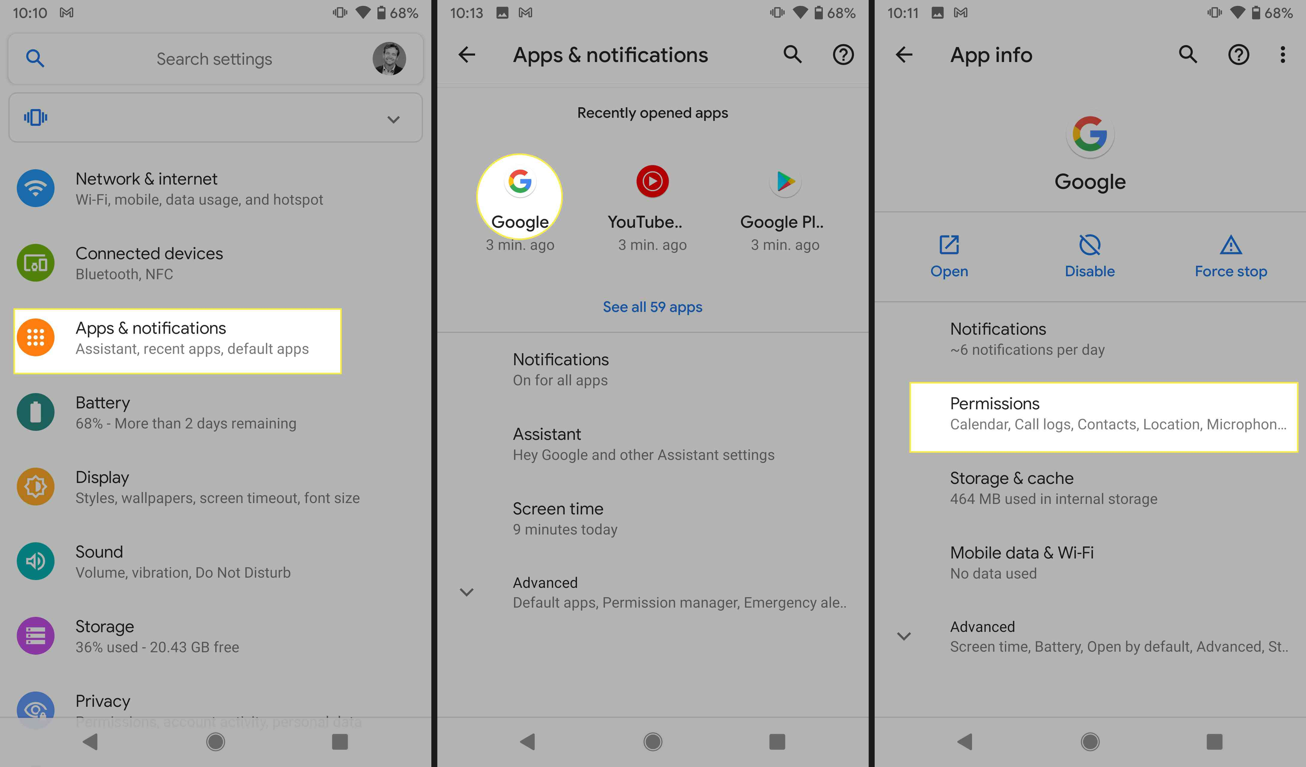Access your Google app permissions on an Android device