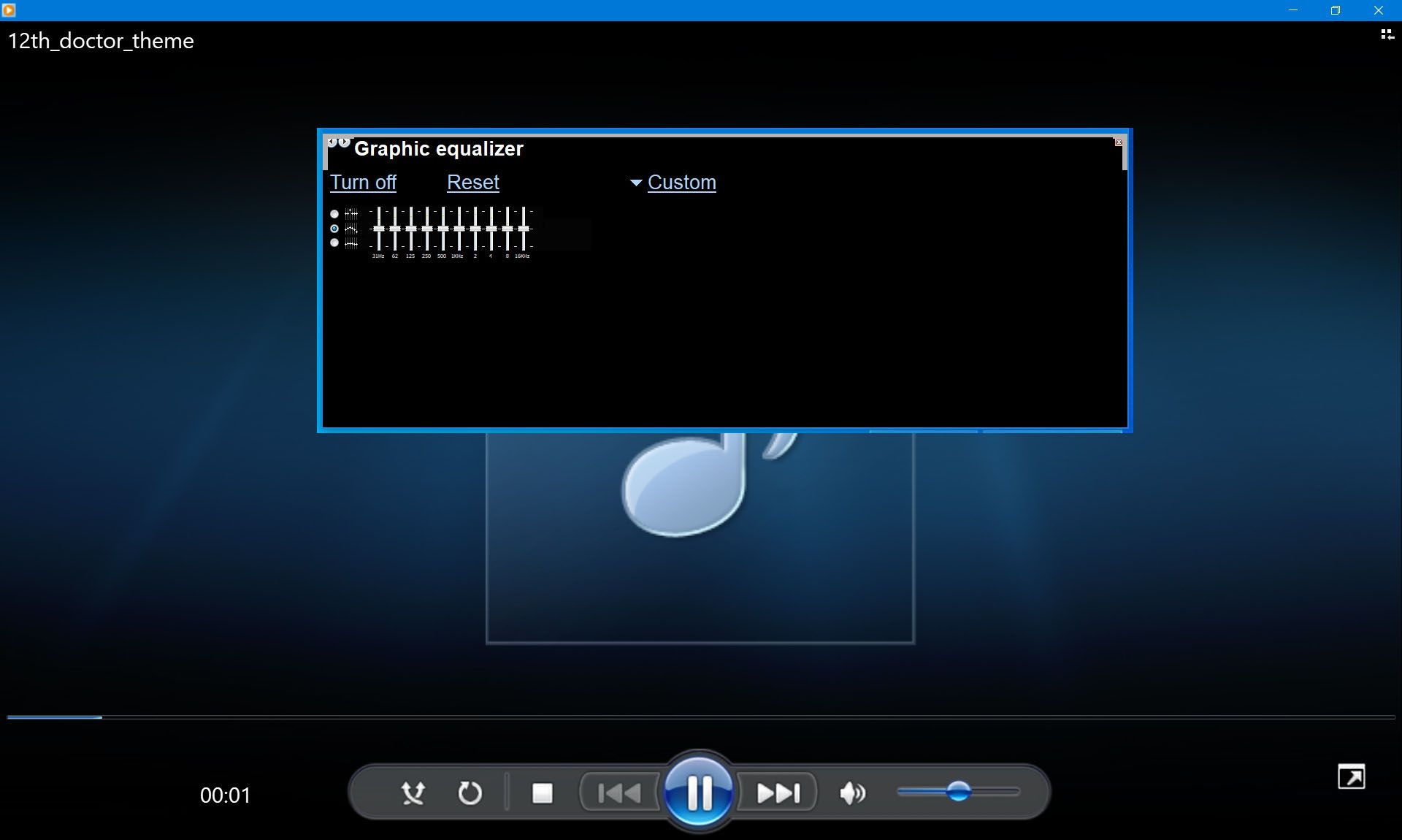 Windows Media Player and the equalizer.