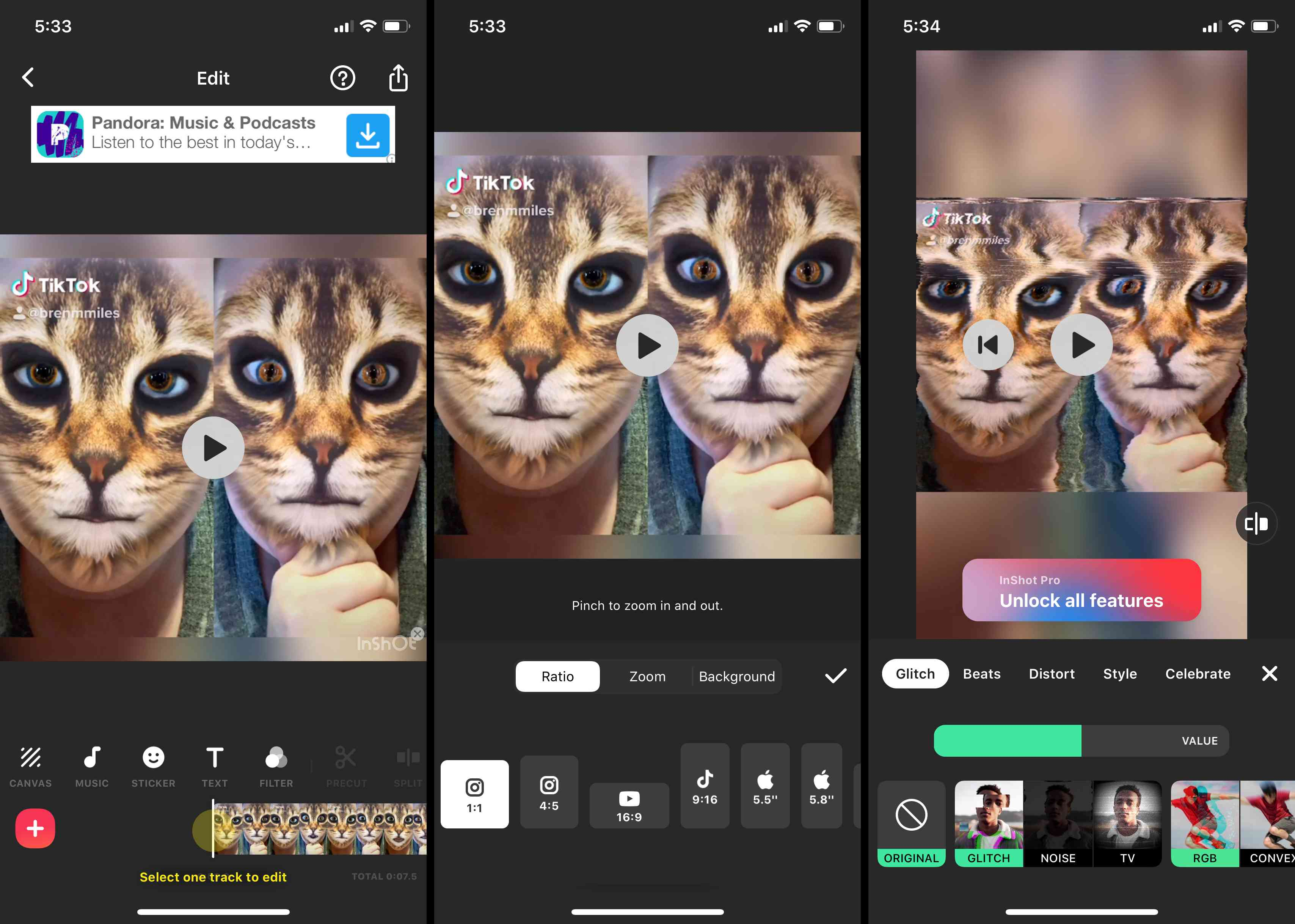 Screenshots of the InShot app.