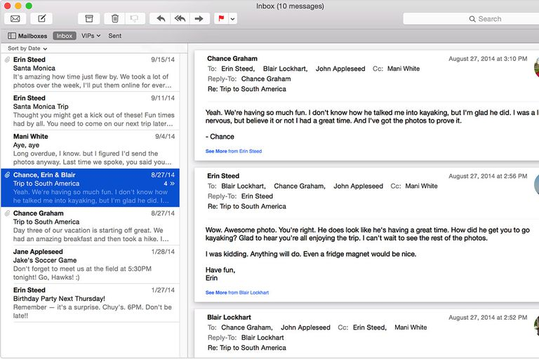 Screenshot of Mac OSX mail