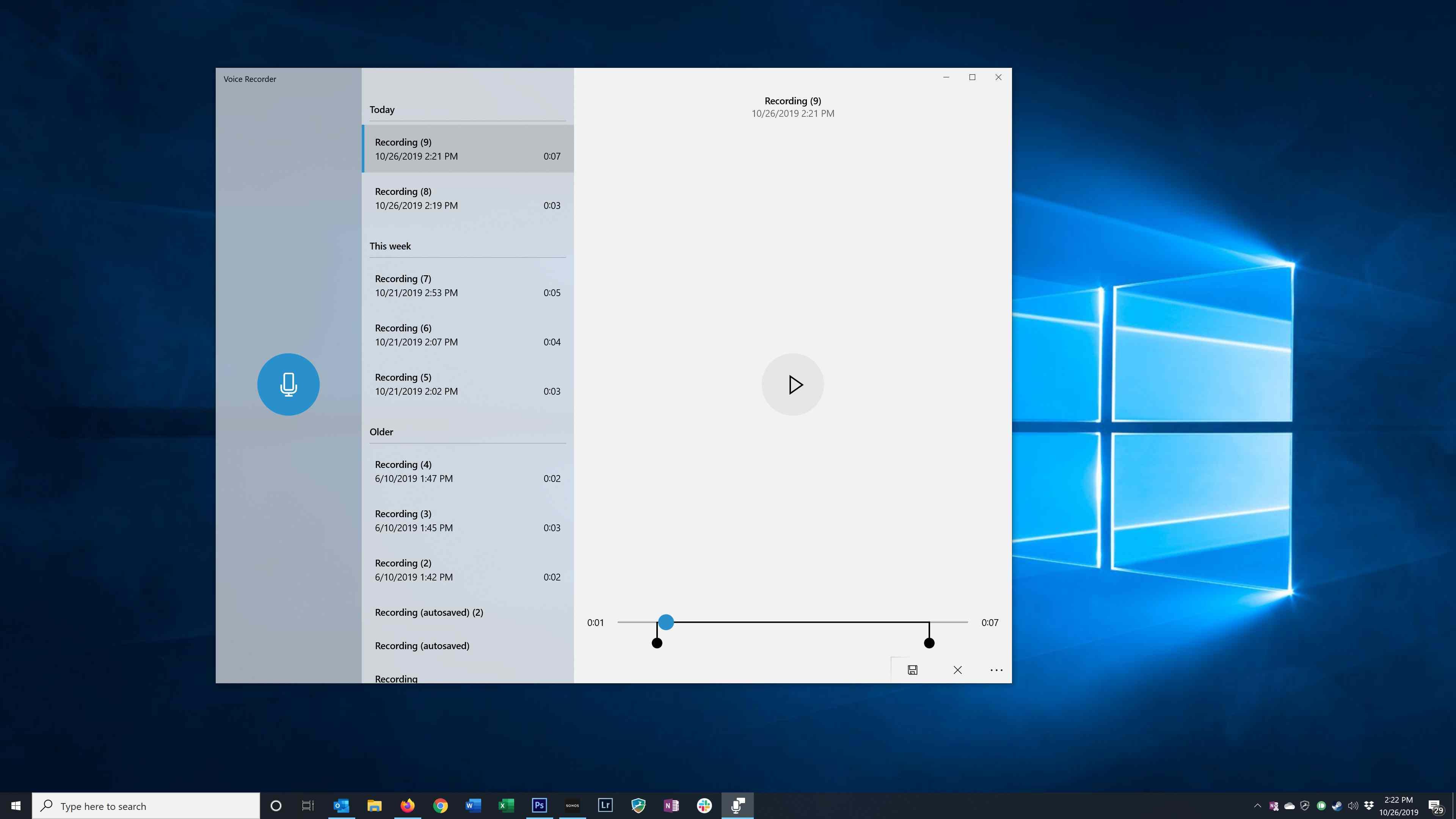 Trimming audio in the Windows Voice Recorder app