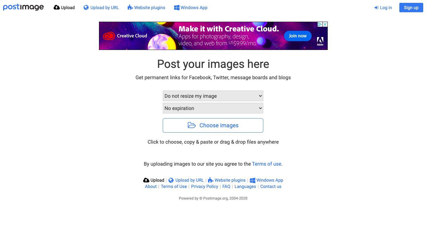 PostImage free photo hosting site