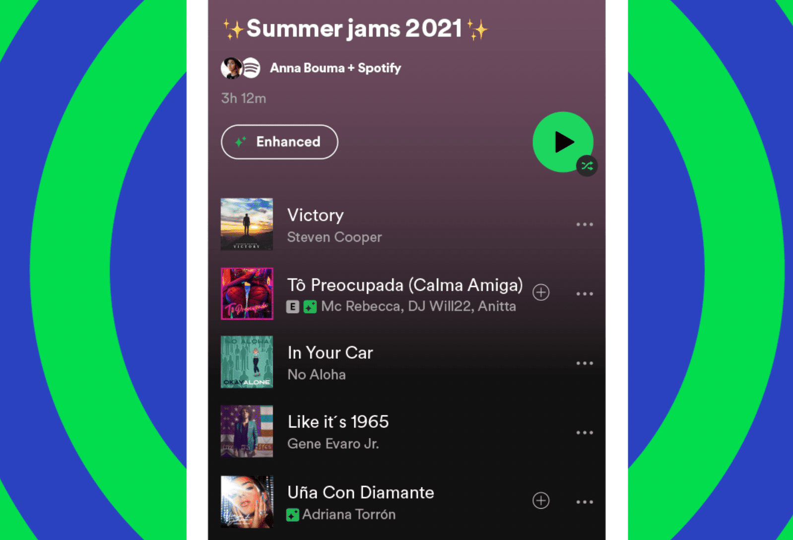 Spotify's new Enhance feature as it appears in the mobile app