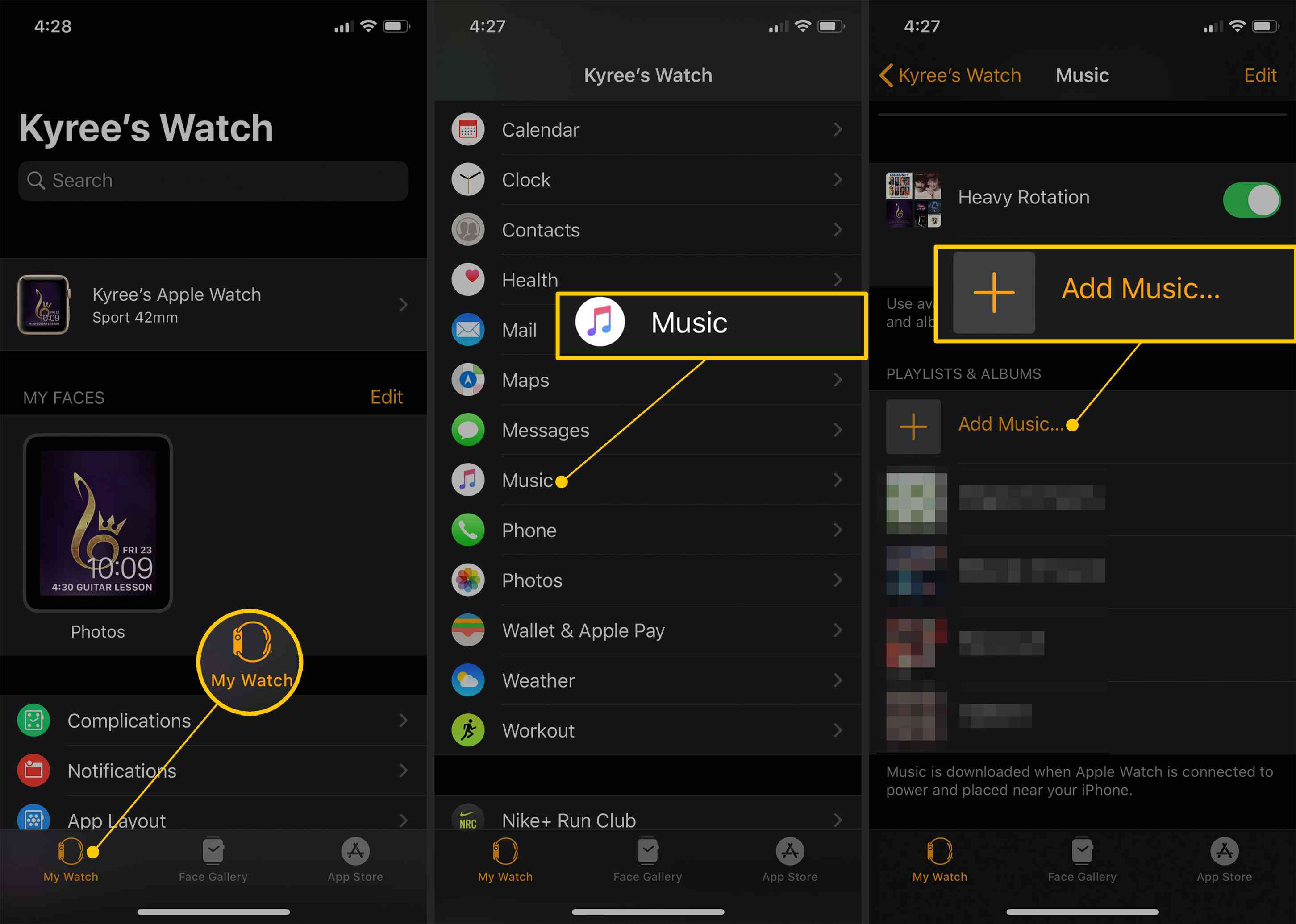 Add Music to Apple Watch from iPhone