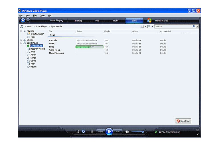 Syncing Playlists in Windows Media Player 11