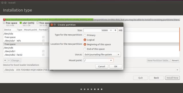 Create Ubuntu Partition