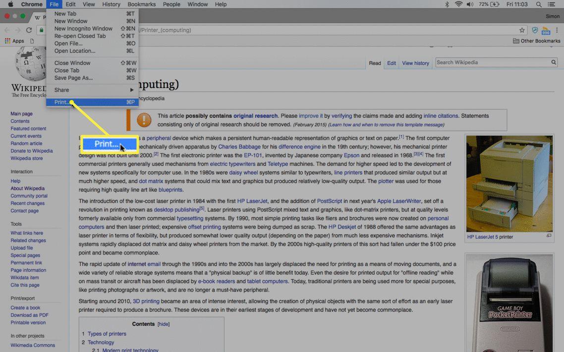 The menu bar File menu with Print selected