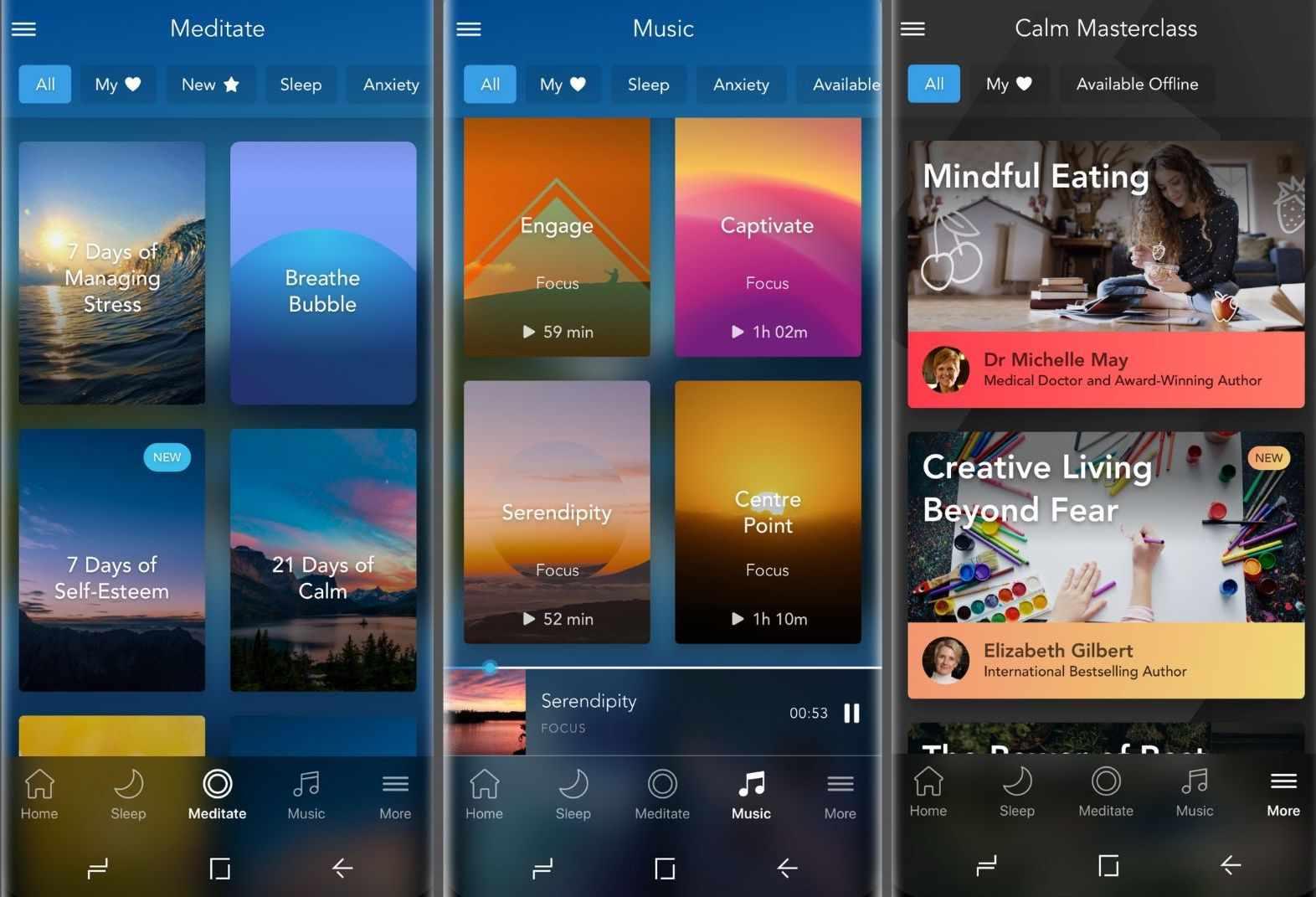 Three screenshots of the Calm app.