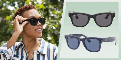 Someone wearing the new Ray-Ban Smart Glasses next to two closeups on those same glasses.