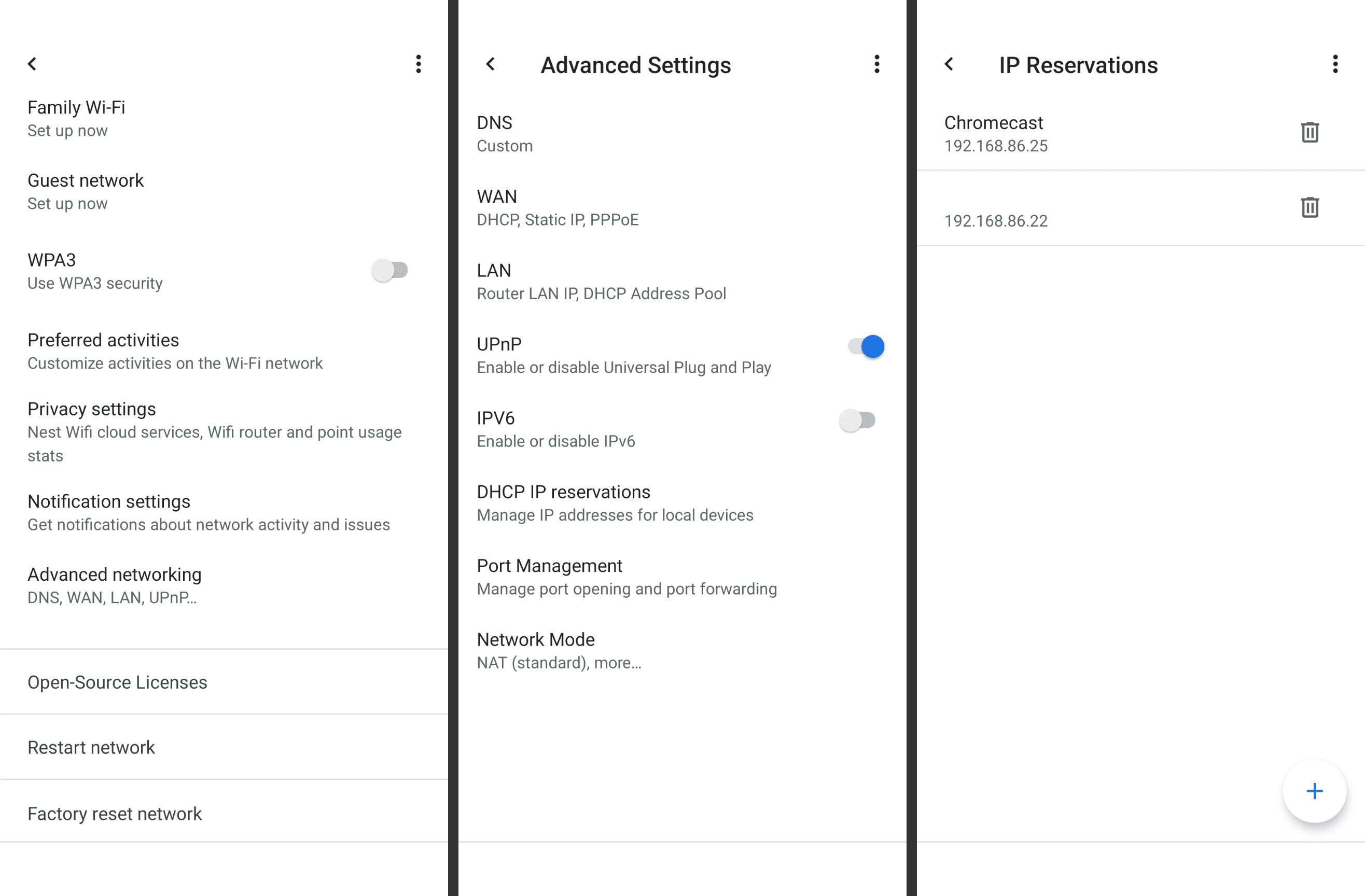 Google Wifi IP reservations list