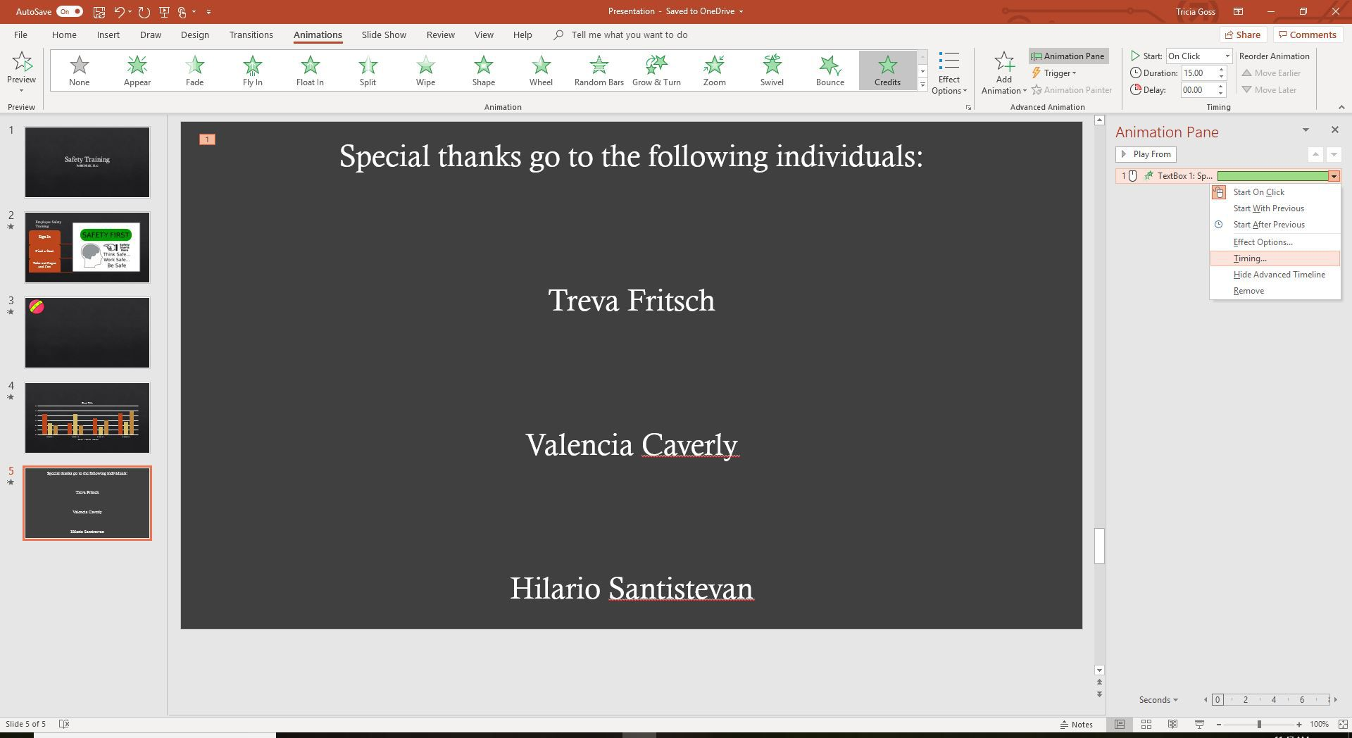A screenshot of timing for credits animation in PowerPoint.