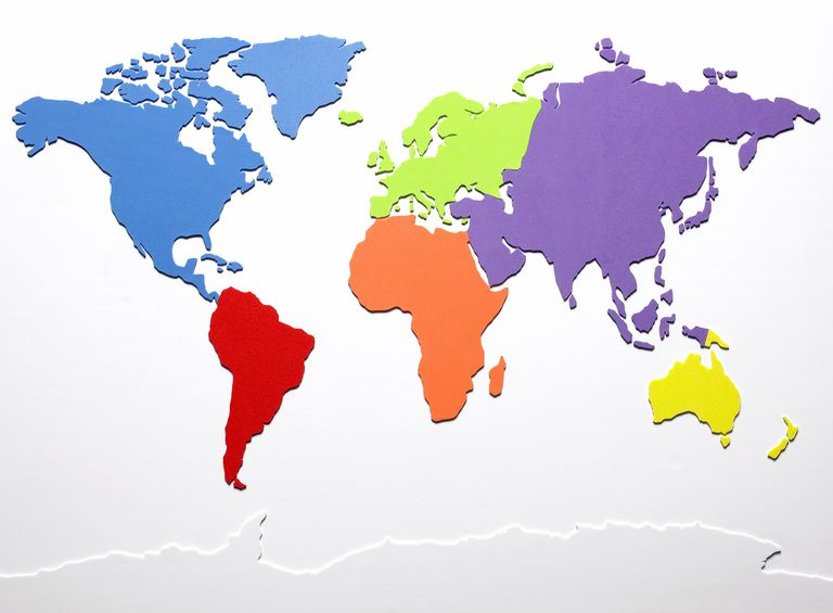 World map with continents in different colors