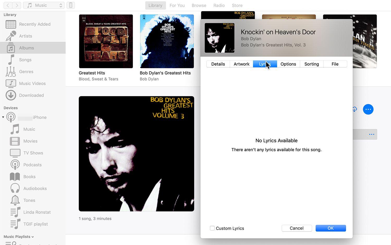 Lyrics field in iTunes song metadata