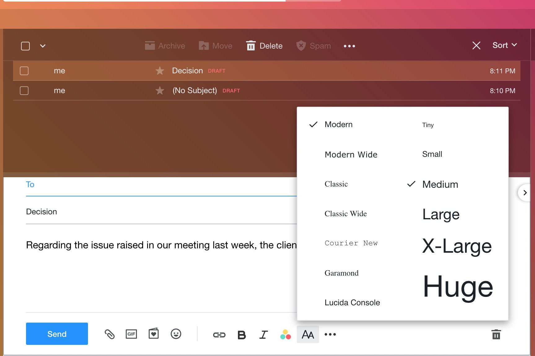 Font size selection in Yahoo Mail