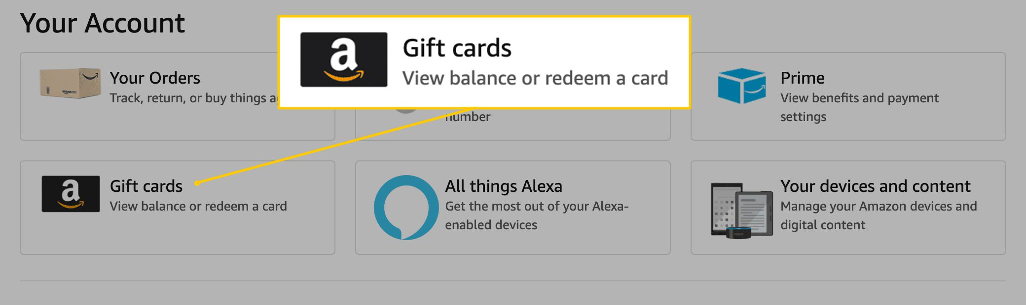 Gift cards button on Amazon