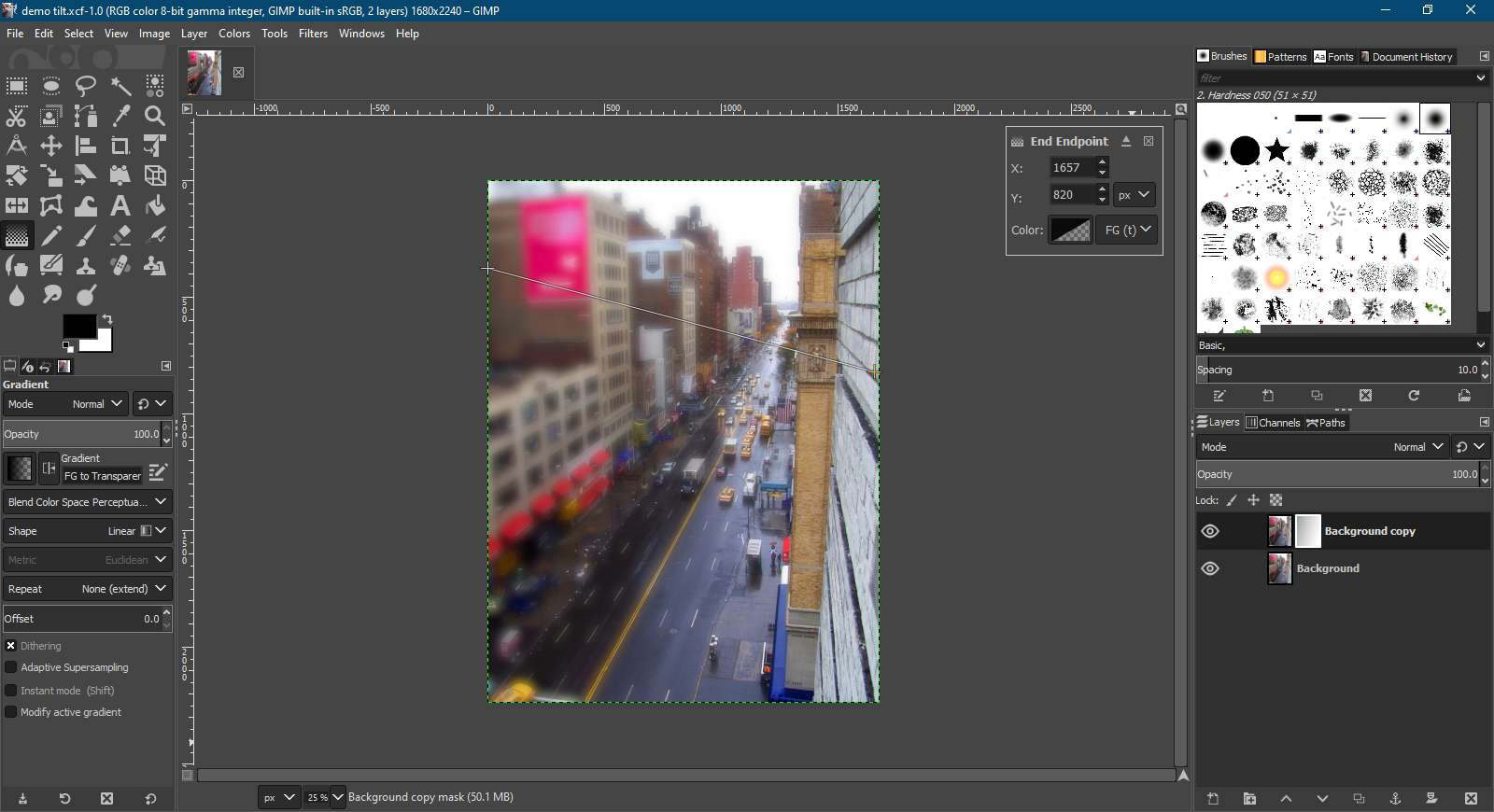 Creating a blend in GIMP.